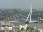 Stock Video Footage of Cityview with erasmusbridge in Rotterdam