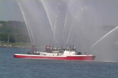 Boat spraying Stock Footage
