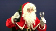 Stock Video Footage of Santa pours a drink