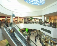 Shopping mall interior escalator stairs - 2 shots Stock Footage