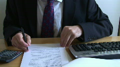 Stock Video Footage of Check Documents with calculator