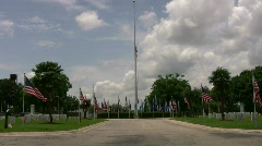 Ft Sam Houston Veteran Cemetery Flags HD Stock Footage