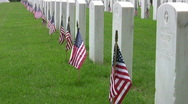 Veteran Cemetery Graves and US Flags Close HD Stock Footage