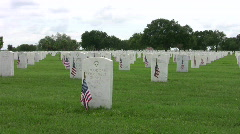 Headstones and flags HD Stock Footage