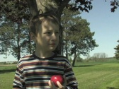 BOY EATING AN APPLE Stock Footage
