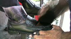 Shoe shine buffing full shoe HD Stock Footage