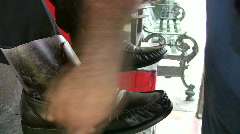Shoe shine paste and buff HD - stock footage