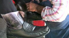 Shoe shine closeup HD Stock Footage