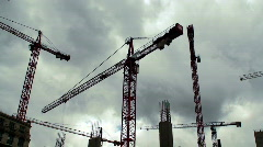 Number of tower cranes on construction site Stock Footage