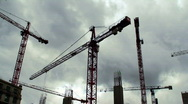Stock Video Footage of Number of tower cranes on construction site