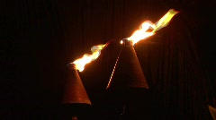 Flaming Tiki Torch in Hawaii at Night - stock footage