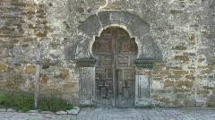 Mission Espada front carved antique doors HD Stock Footage