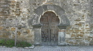 Stock Video Footage of Mission Espada front carved antique doors HD