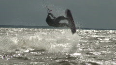 Kite surfing nine in the Baltic sea - stock footage