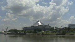 Time Lapse Cloud and River - Singapore Indoor Stadium  Stock Footage