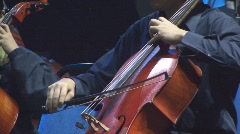 Musician Playing Cello With Slow Strokes Stock Footage
