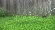 Weed cutting yard HD Stock Footage
