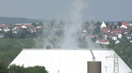 Stock Video Footage of Cooling tower and village