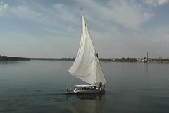 Sailing a Felucca down the Nile Stock Footage