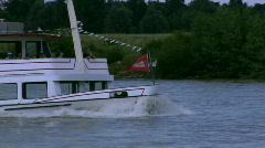 Rhine ferry bow wave - stock footage