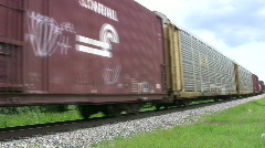 Train middle to end through rural Texas HD Stock Footage