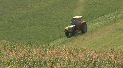 Tractor on grassland Stock Footage