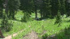 Bike riders single track mountain trail HD Stock Footage