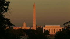 Washington DC, monuments sunset - stock footage