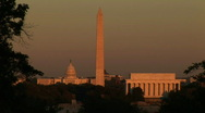 Stock Video Footage of Washington DC, monuments sunset