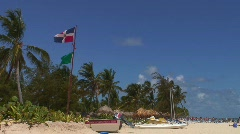 Jm187-DR-Dominican Rep. Flag Beach Stock Footage