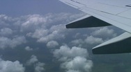 Jm218-DR-Plane Wing View Stock Footage