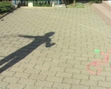 Shadow of girl rotating hula-hoop Stock Footage