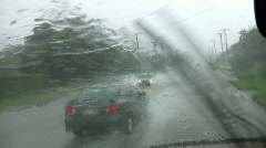 Rain storm driving big splash flood weather HD Stock Footage