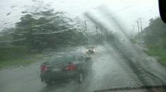 Rain storm driving big splash flood weather HD - stock footage