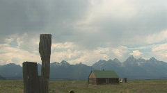 Mormon Row and dust devil near Grand Teton National Park - stock footage