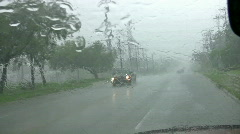 Rain storm driving windshield flood water HD Stock Footage