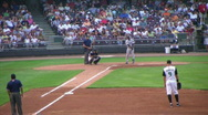 Baseball Out At First Base Stock Footage