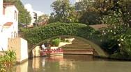San Antonio Riverwalk barge bridge HD Stock Footage