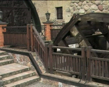Whirling old wooden waterwheel 01 Stock Footage