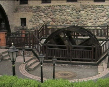 Whirling old wooden waterwheel 02 Stock Footage