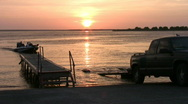Stock Video Footage of fishing boat take out sunset HD