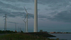 Wind power electric station at sunrise 21 Stock Footage