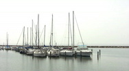 Sailboat harbor white sky breakwater HD Stock Footage