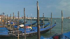 Venice parking gondolas marcus place Stock Footage