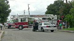 Fire truck police car ar fire HD Stock Footage