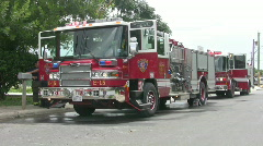 Fire trucks two at fire HD - stock footage