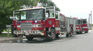 Fire trucks two at fire HD Stock Footage