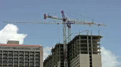 Skyscraper with crane working new hotel resort San Antonio Texas HD Stock Footage