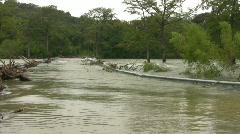Texas flood road underwater guard rails Closeup HD Stock Footage