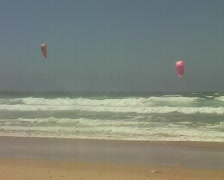 Kitesurfing at the westcoast from Portugal Stock Footage